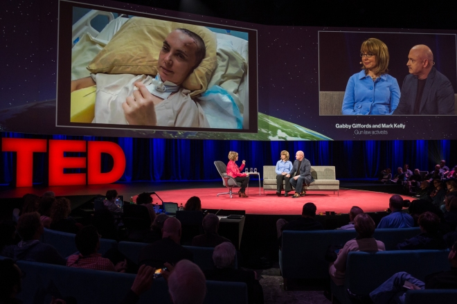 (L-R) Pat Mitchell interviews Gabby Giffords and Mark Kelly. Photo: James Duncan Davidson